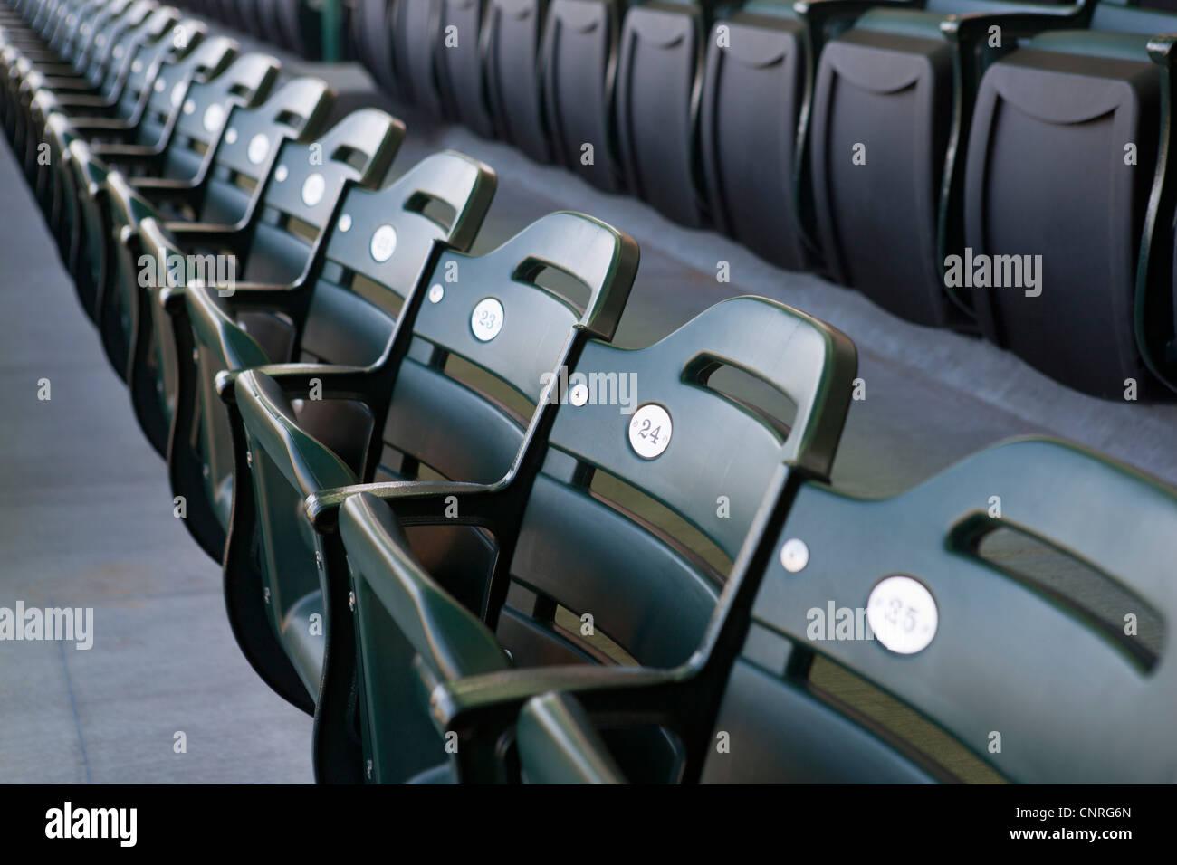 Empty folding seats - Stock Image