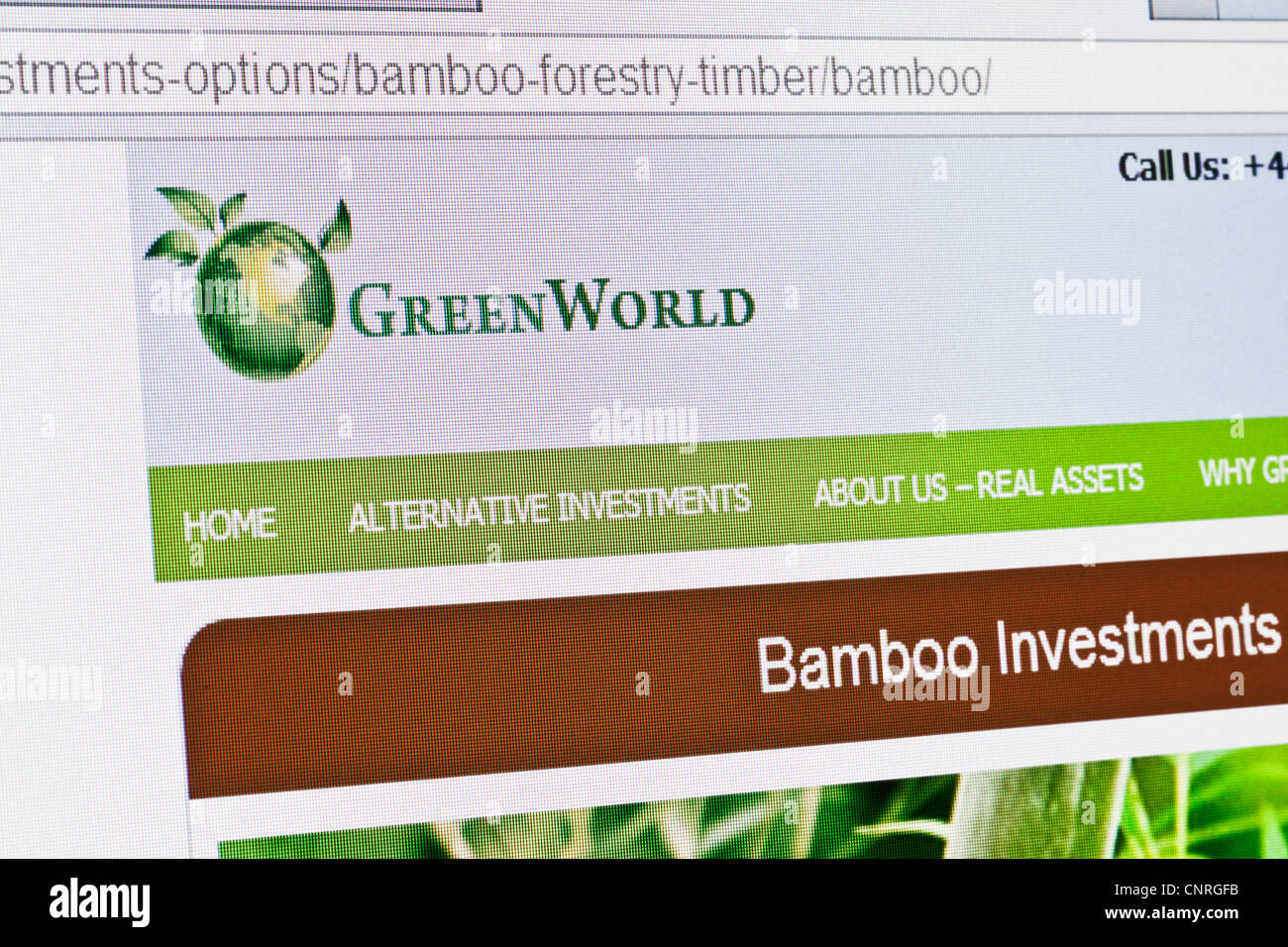 Greenworld website home page - Stock Image