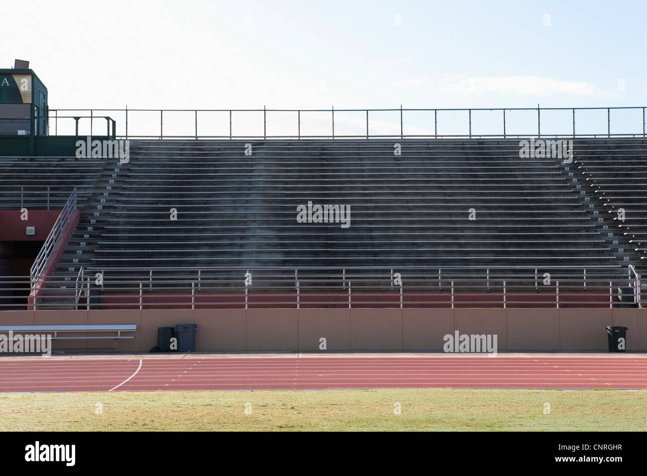 Empty stadium and running track - Stock Image