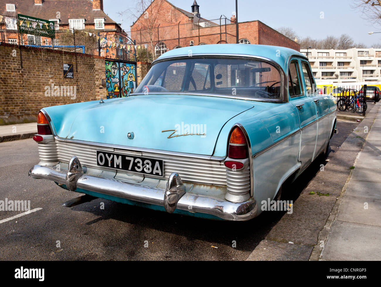 Rear View Of A Ford Zephyr Zodiac Car Parked On The Street London