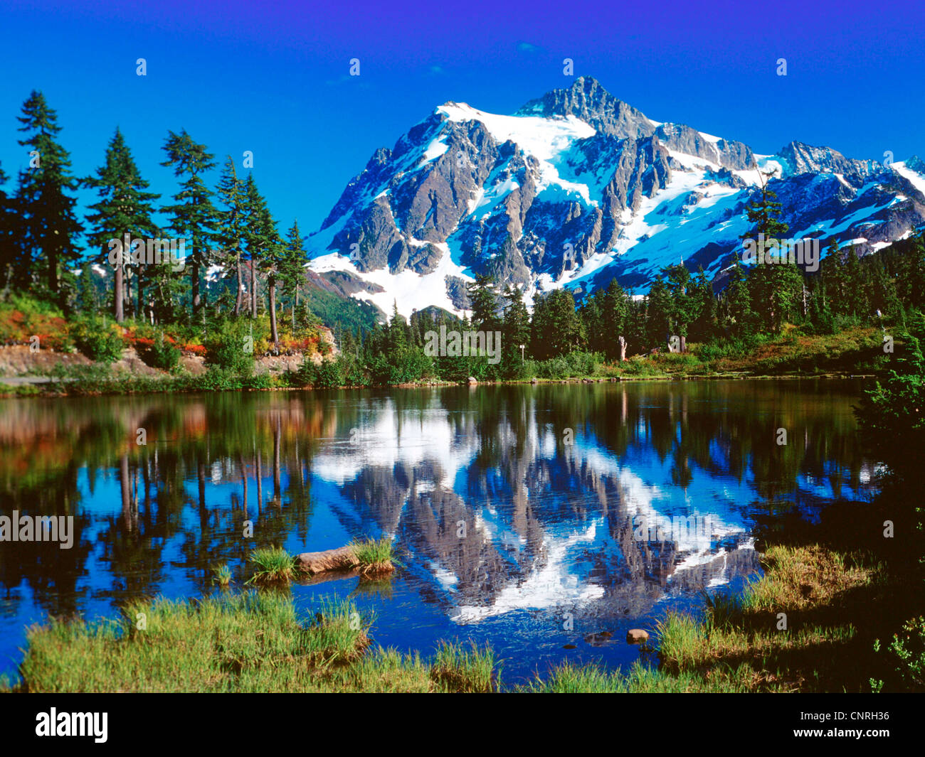 Mont Shuksan,  Picture Lake, USA, Washington State, Snowqualmi National Forest Stock Photo