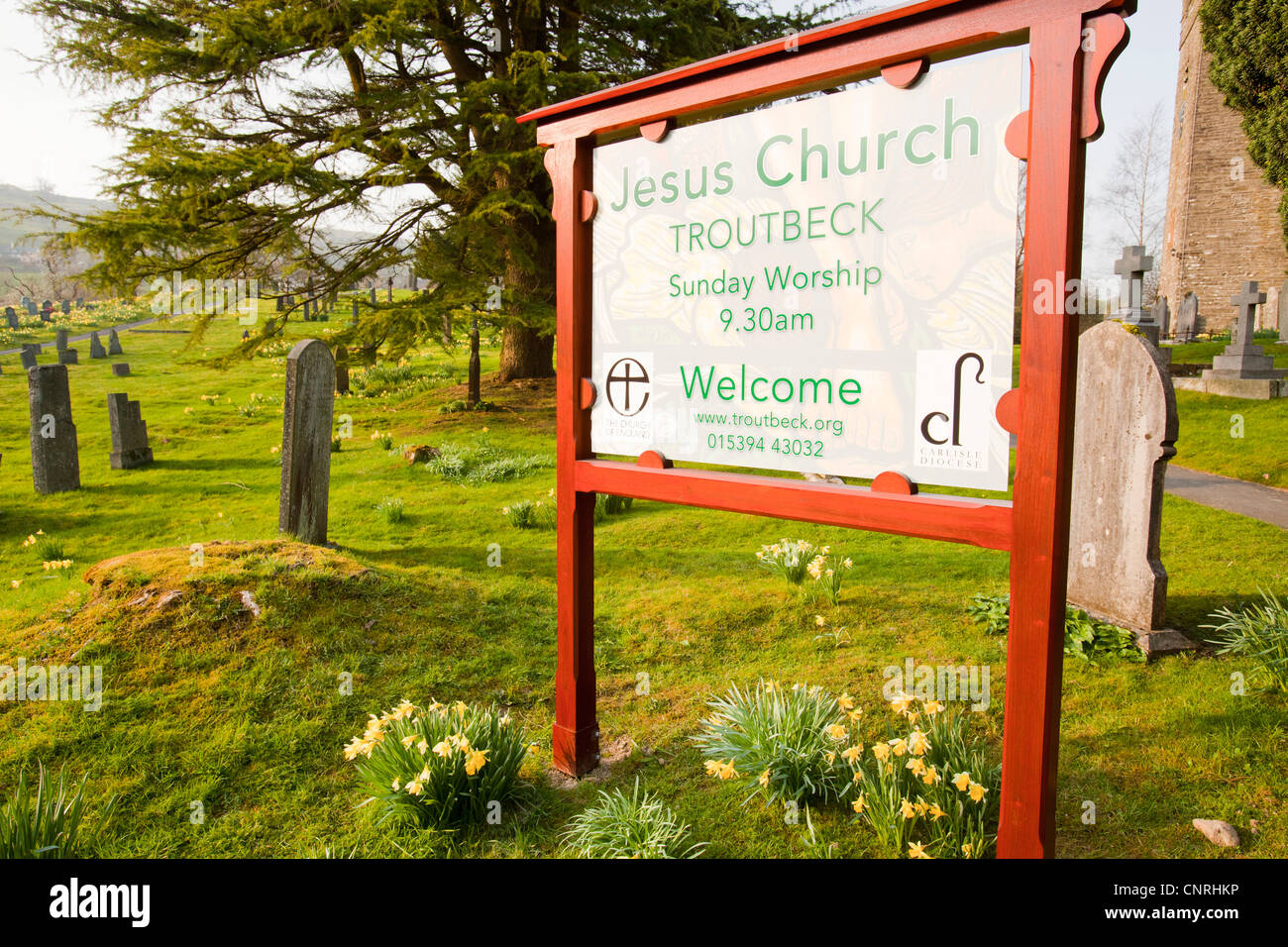 Jesus Church in Troutbeck, Lake District, UK, with wild Daffodils flowering in the church yard. - Stock Image