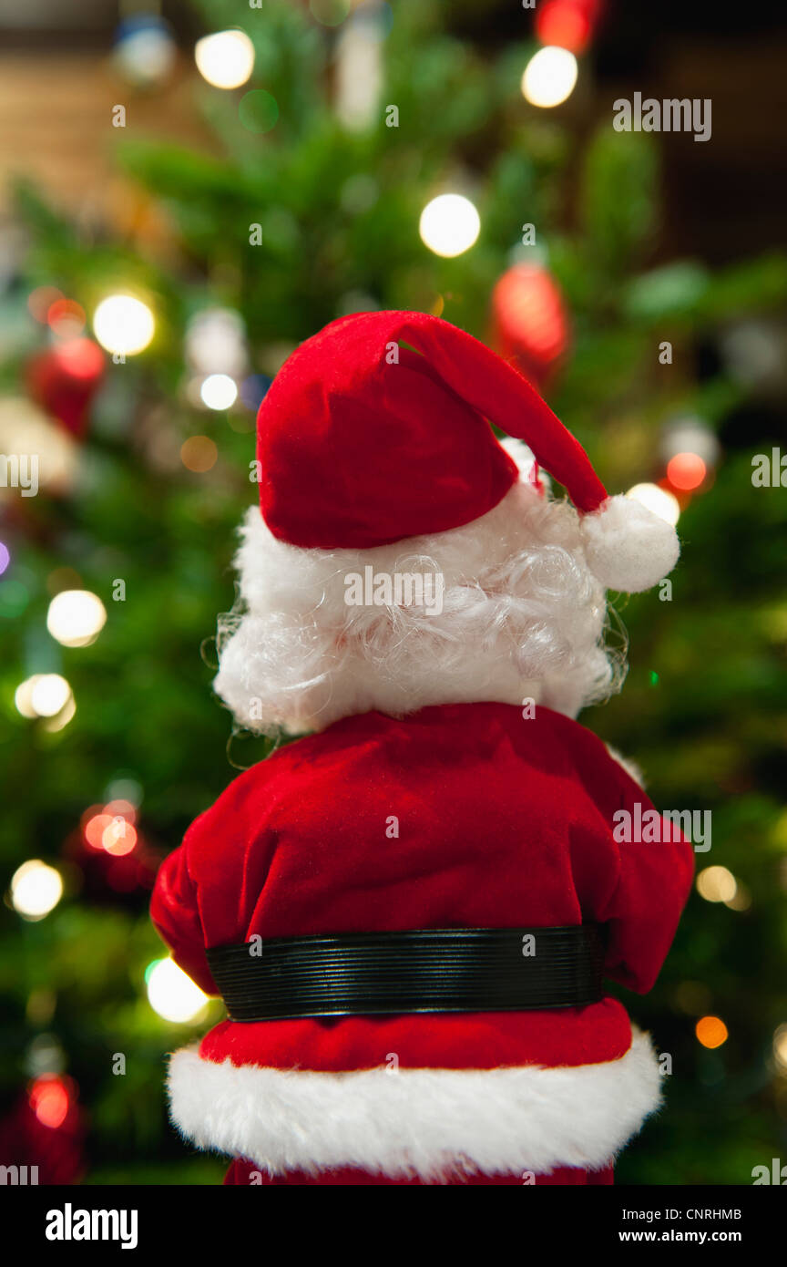Santa Claus Christmas decoration, rear view - Stock Image