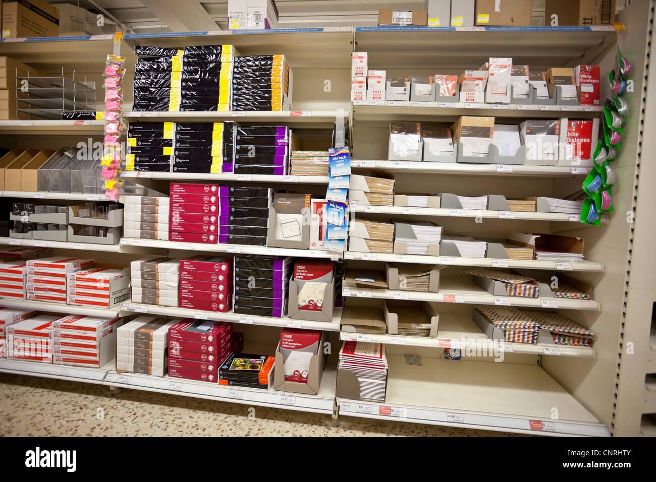 Stationary shelves in a shop, London, England, UK - Stock Image