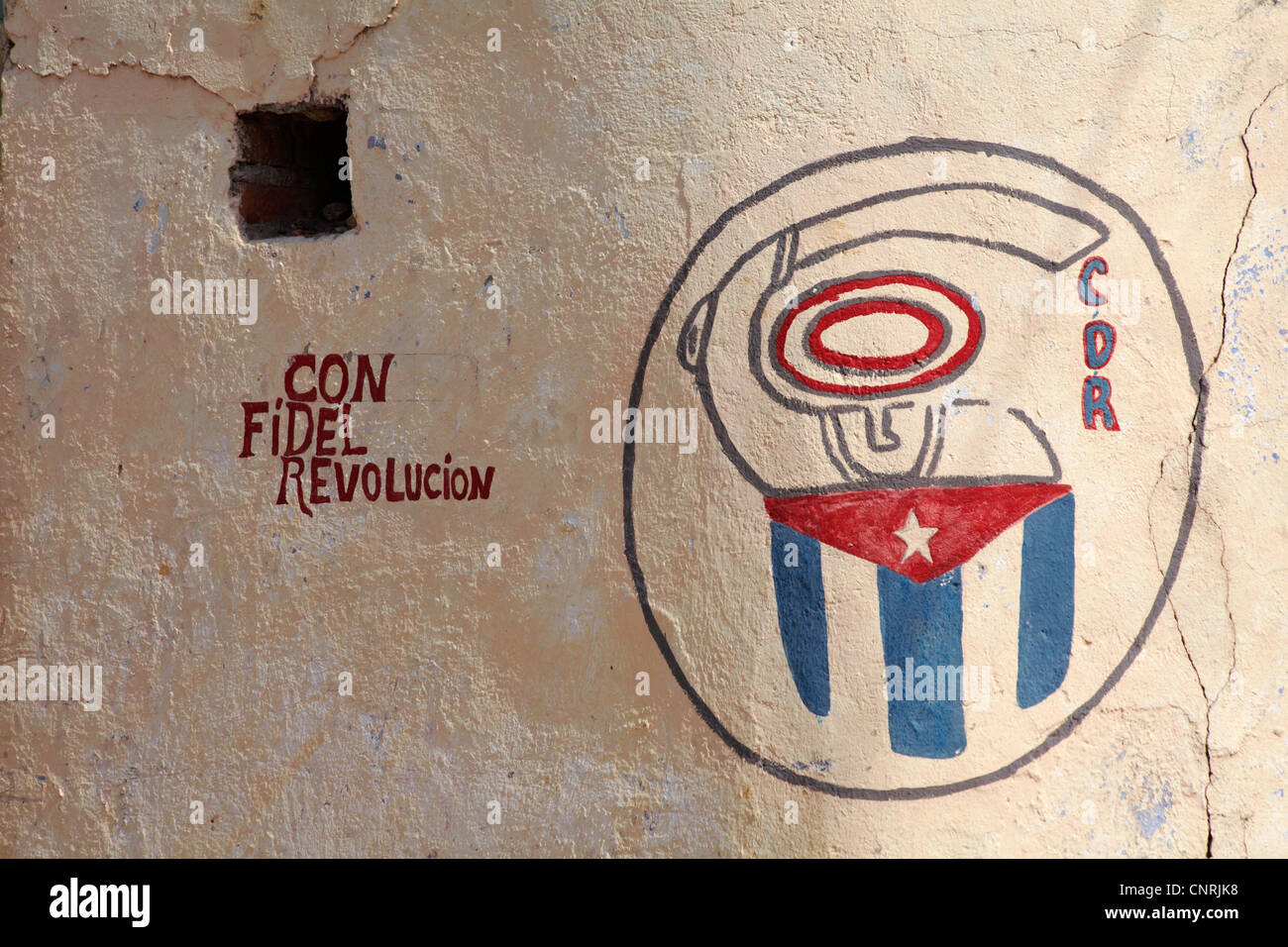 writing and painting on wall CDR con Fidel Revolucion at Trinidad, Cuba, West Indies, Caribbean, Central America - Stock Image
