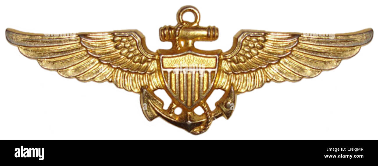 Naval Aviator insignia, worn by pilots in the U.S. Navy - Stock Image