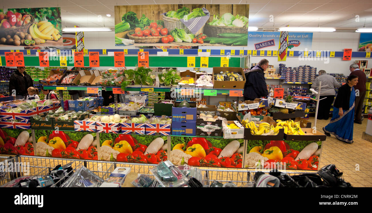 Vegetable and fruit section inside a Lidl supermarket, London, England, UK - Stock Image