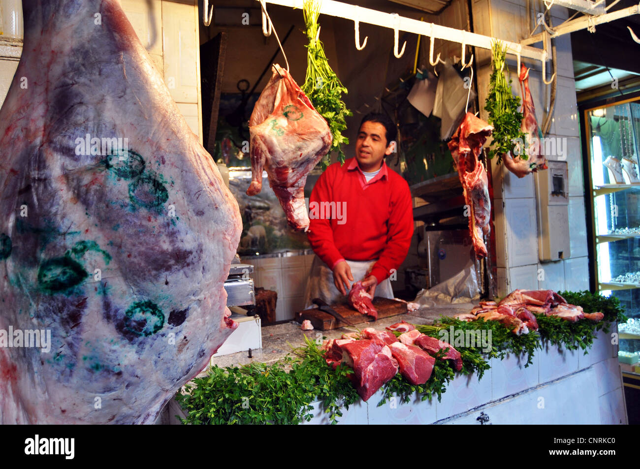 A traditional butcher, Marrakesh, Morocco - Stock Image