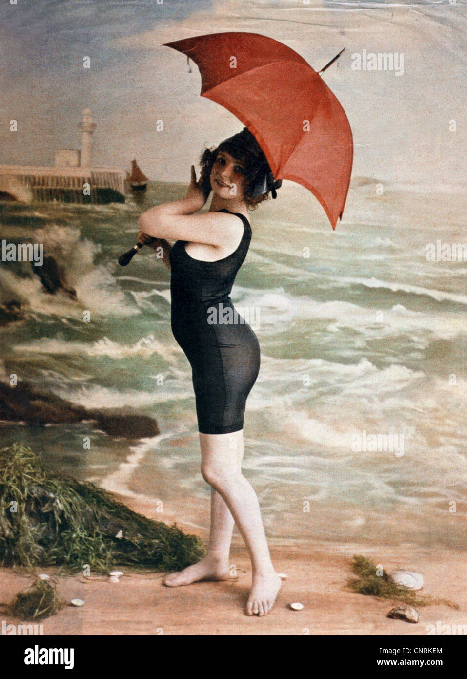 Bathing Beach Fashion Young Woman In Black Swimsuit With Red Stock
