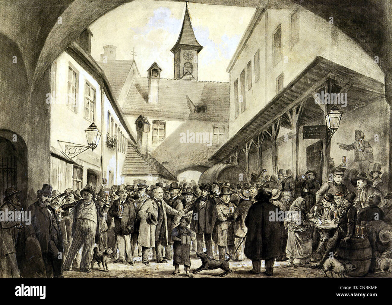 gastronomy, old Hofbraeuhaus, Munich, sepia and ink drawing by Breitschwert, circa 1872, 1870s, 19th century, historic, - Stock Image