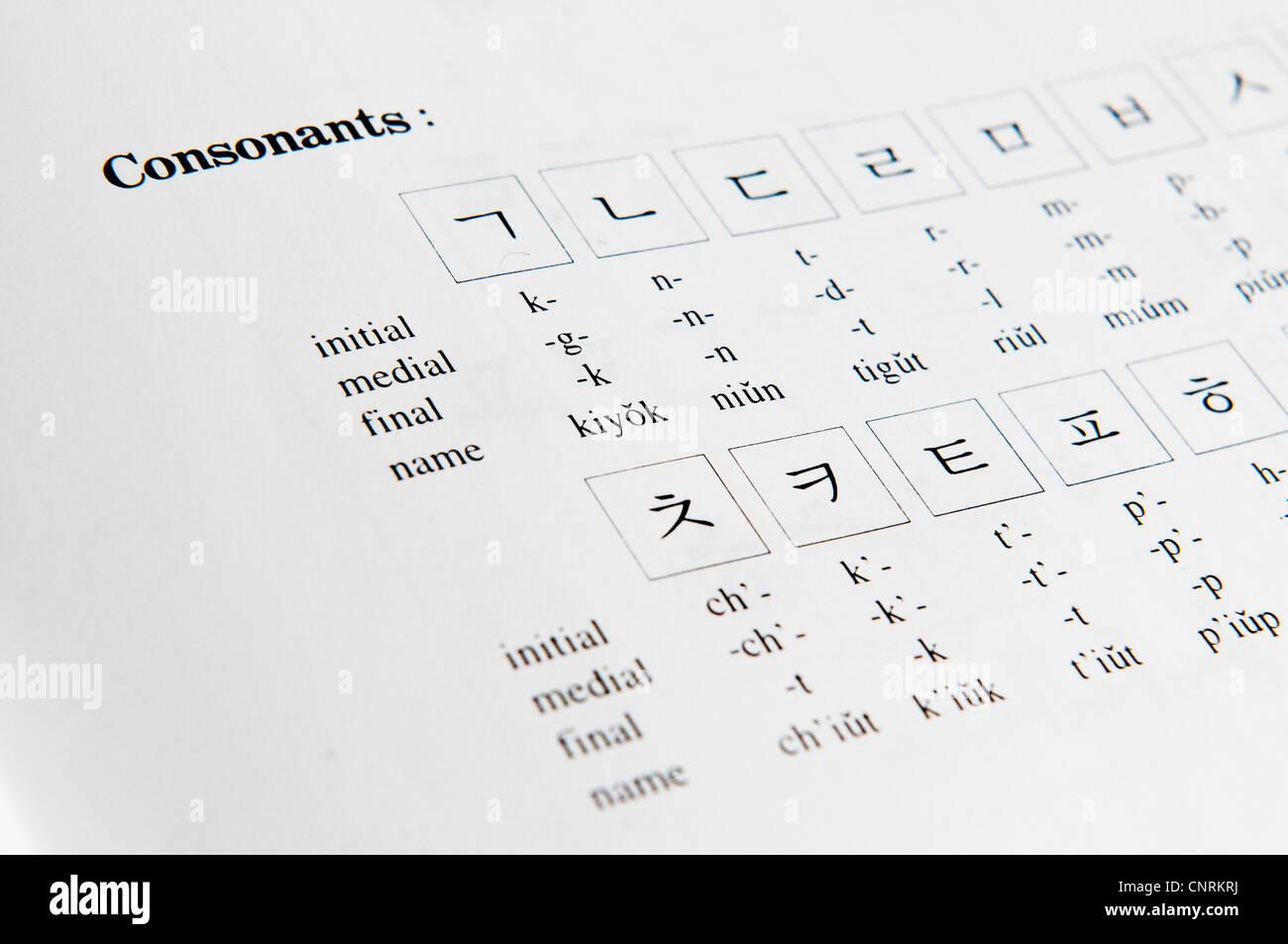 Korean alphabet letters stock photos korean alphabet letters stock text book for how to read and write korean for foreigners stock image expocarfo Gallery