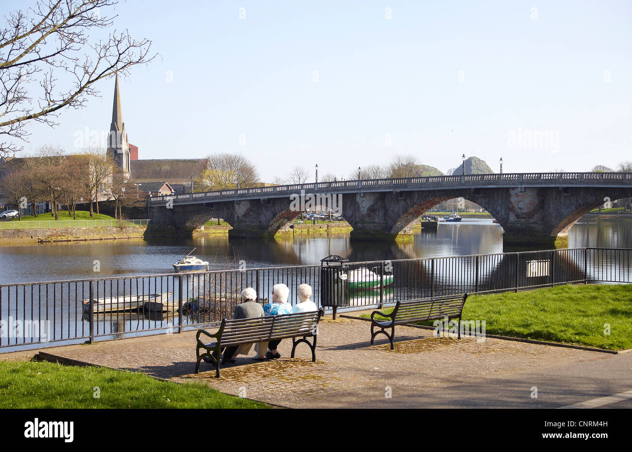 The River leven and old Dumbarton Bridge, Dumbarton, Scotland - Stock Image