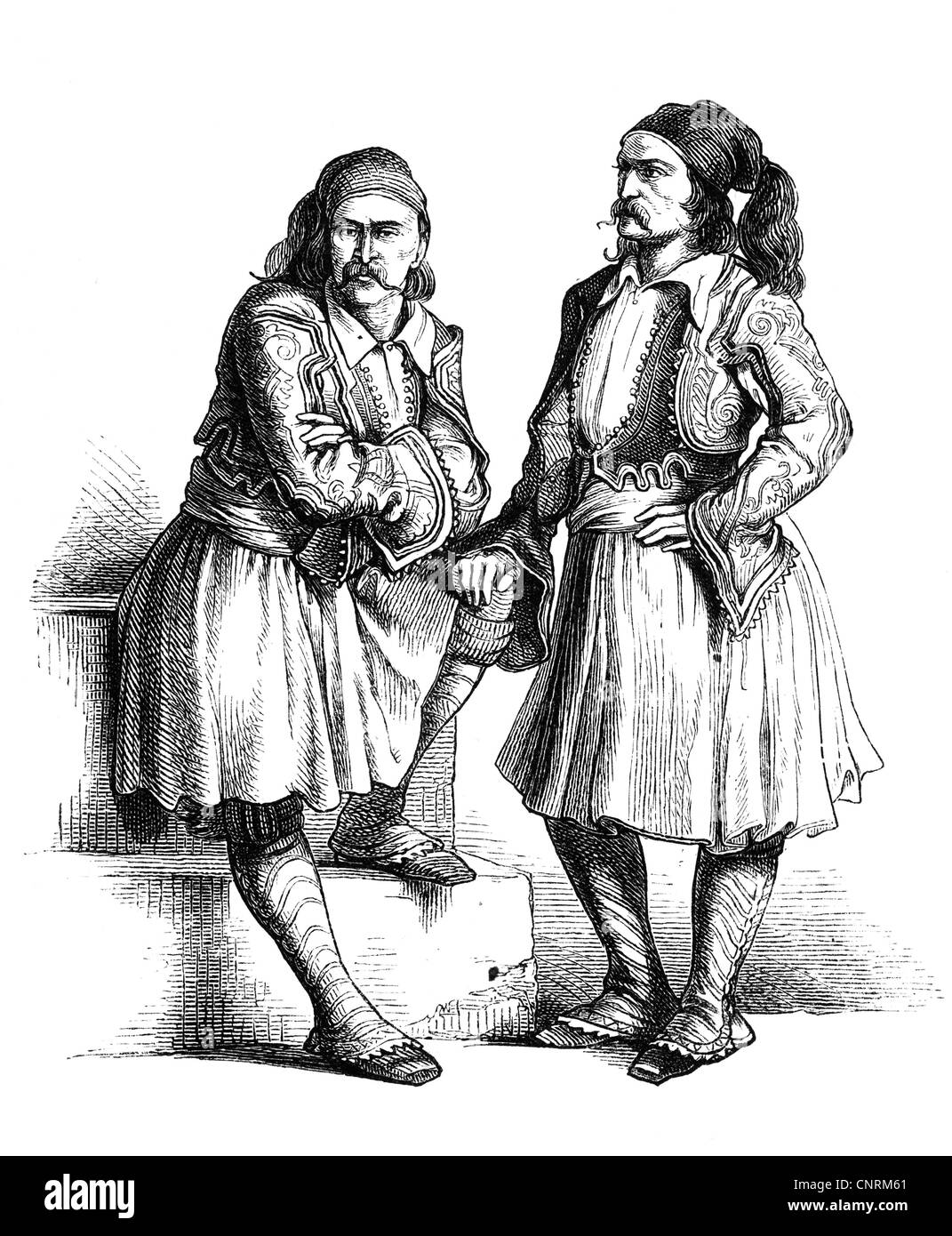 geography / travel, Greece, people, men, two men in Arnvanite traditional costume, wood engraving, 2nd half 19th Stock Photo