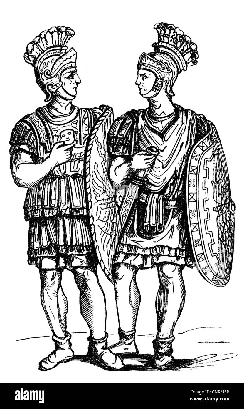 military, Ancient World, Roman Empire, two members of the Praetorian Guard, 1st century AD, wood engraving, 19th - Stock Image