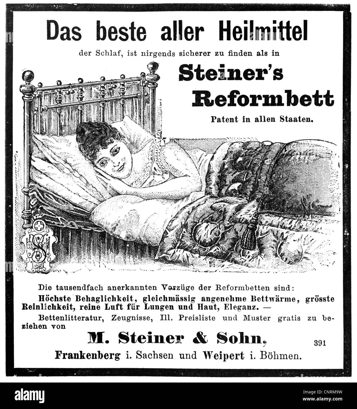 advertising, advertisements, beds, 'The best remedy', 'Steiner's reform-bed', M. Steiner & - Stock Image