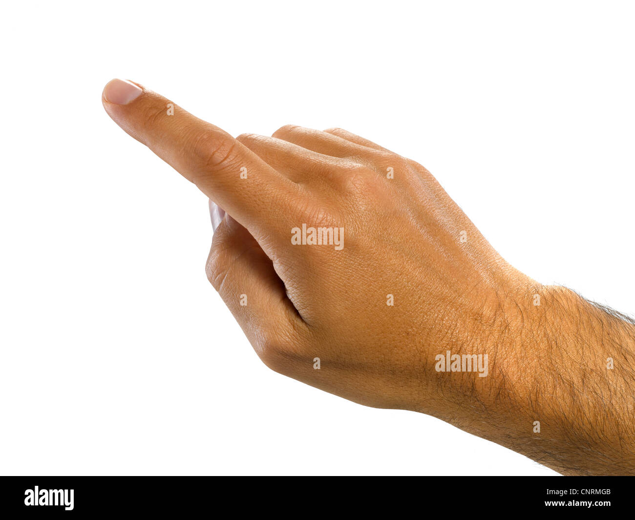 A male hand pointing Stock Photo