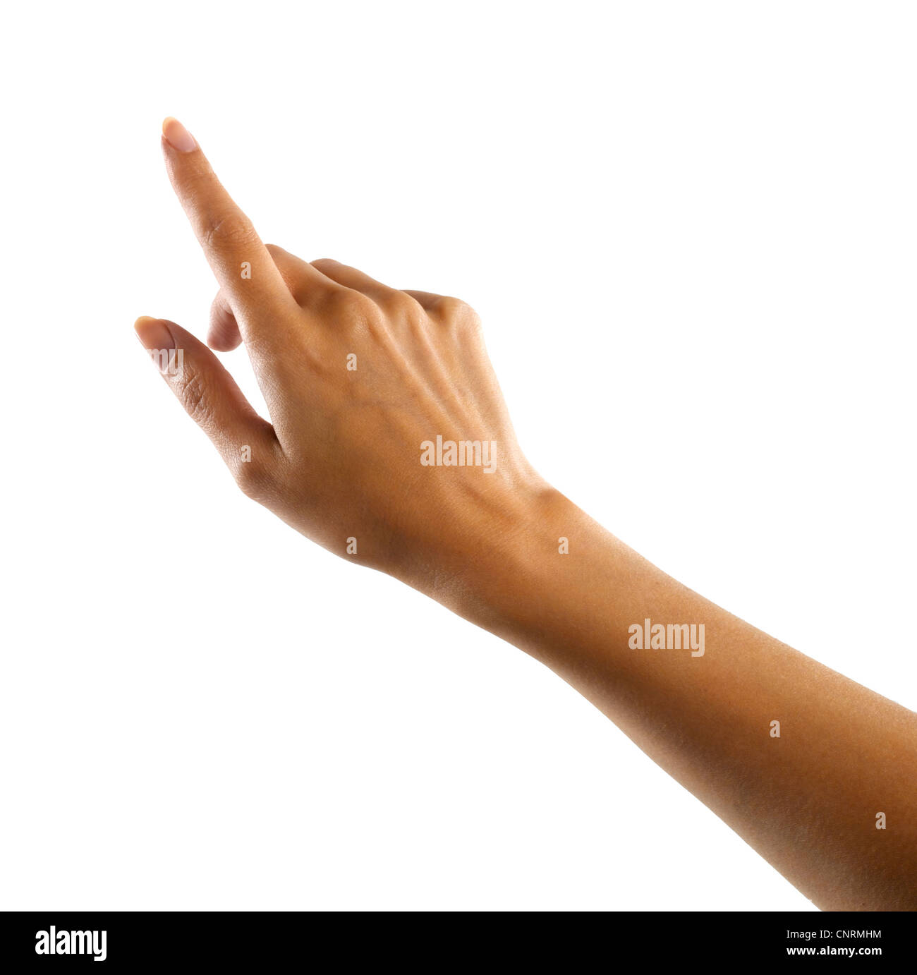 A female hand pointing or touching - Stock Image