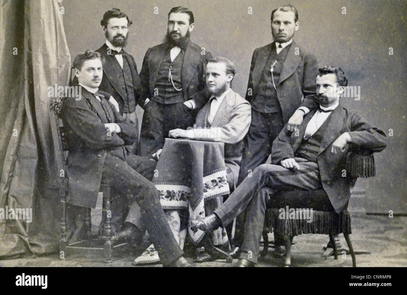 People Men Group Picture Late 19th Century Carte De Visite