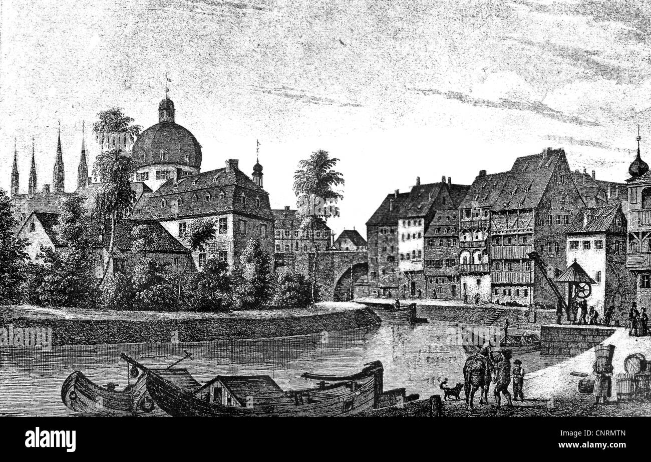 geography / travel, Germany, Bamberg, city views / cityscapes, view of Nonnengraben (moat), copper engraving, 19th - Stock Image