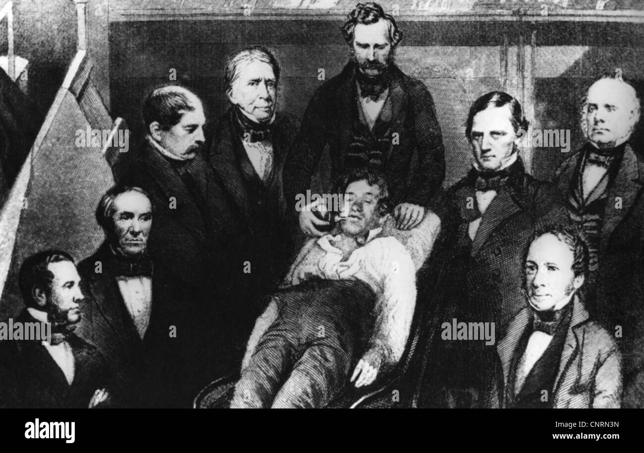 Morton, William Thomas Green, 9.8.1819 - 15.7.1868, American doctor (dentist), with George Hayward, S.T. Townsend, - Stock Image