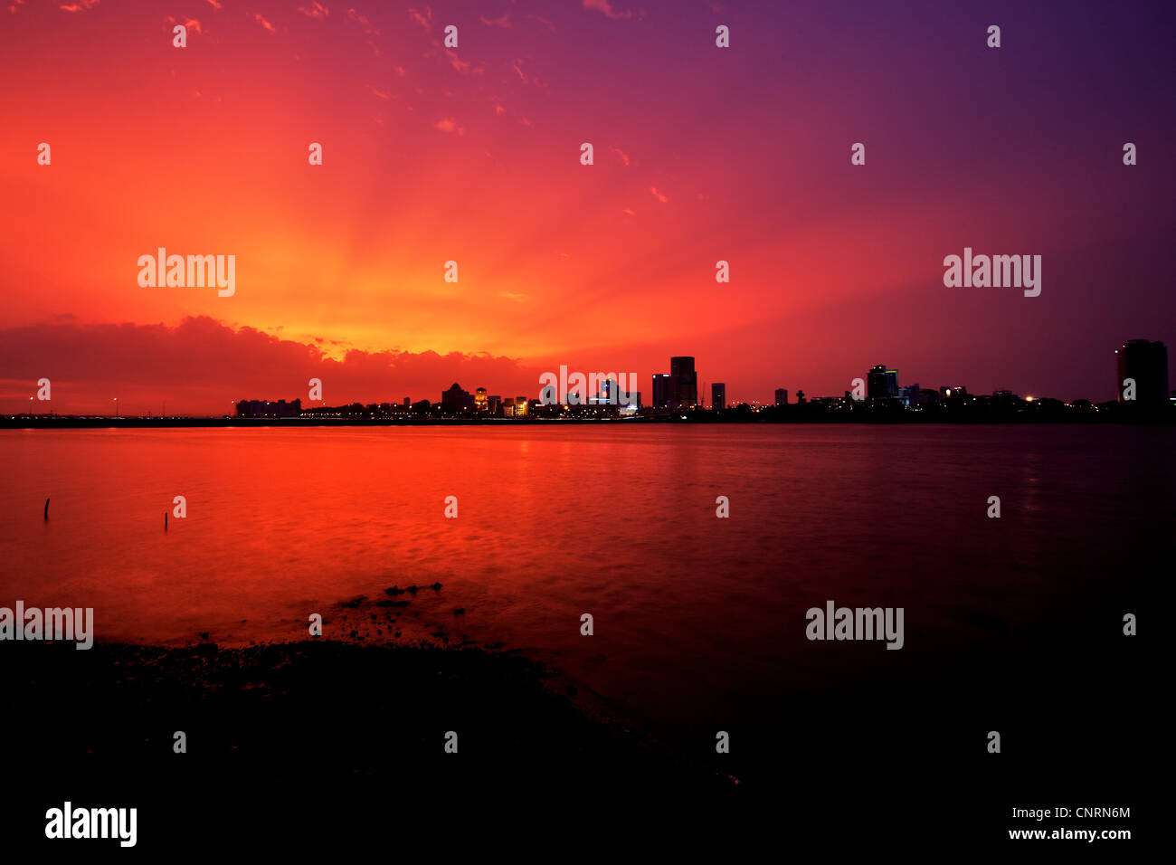 Sunset at Singapore Woodlands Waterfront - Stock Image