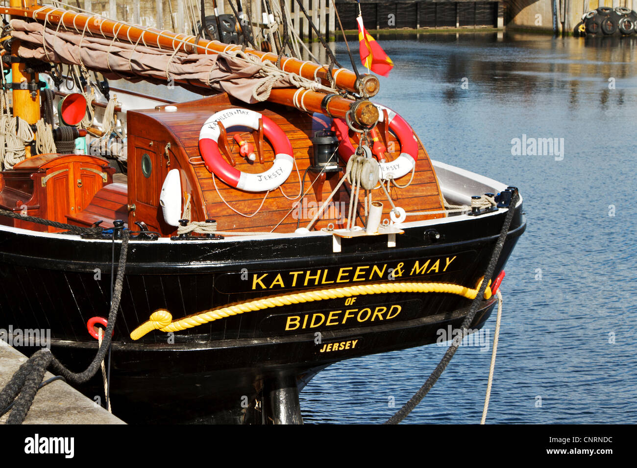 Tall sailing ship KATHLEEN & MAY, berthed in canning dock, in the Albert Dock complex, Liverpool, Merseyside, - Stock Image
