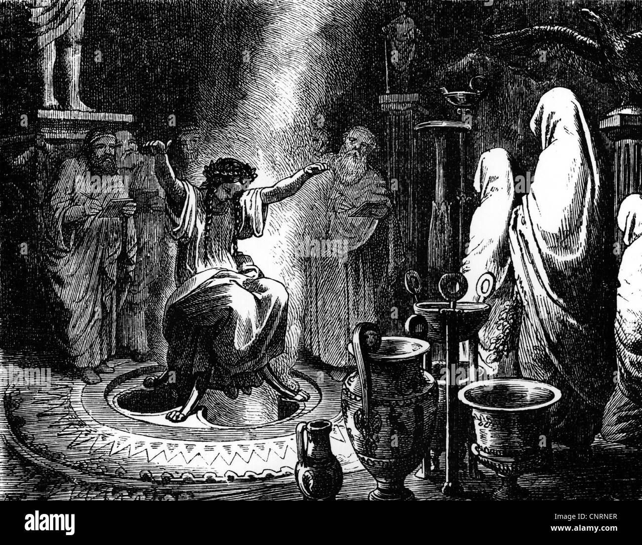 Ancient World, Greece, religion, Delphic Sibyl, priestess Pythia making her prophecies, sitting in a cauldron on - Stock Image