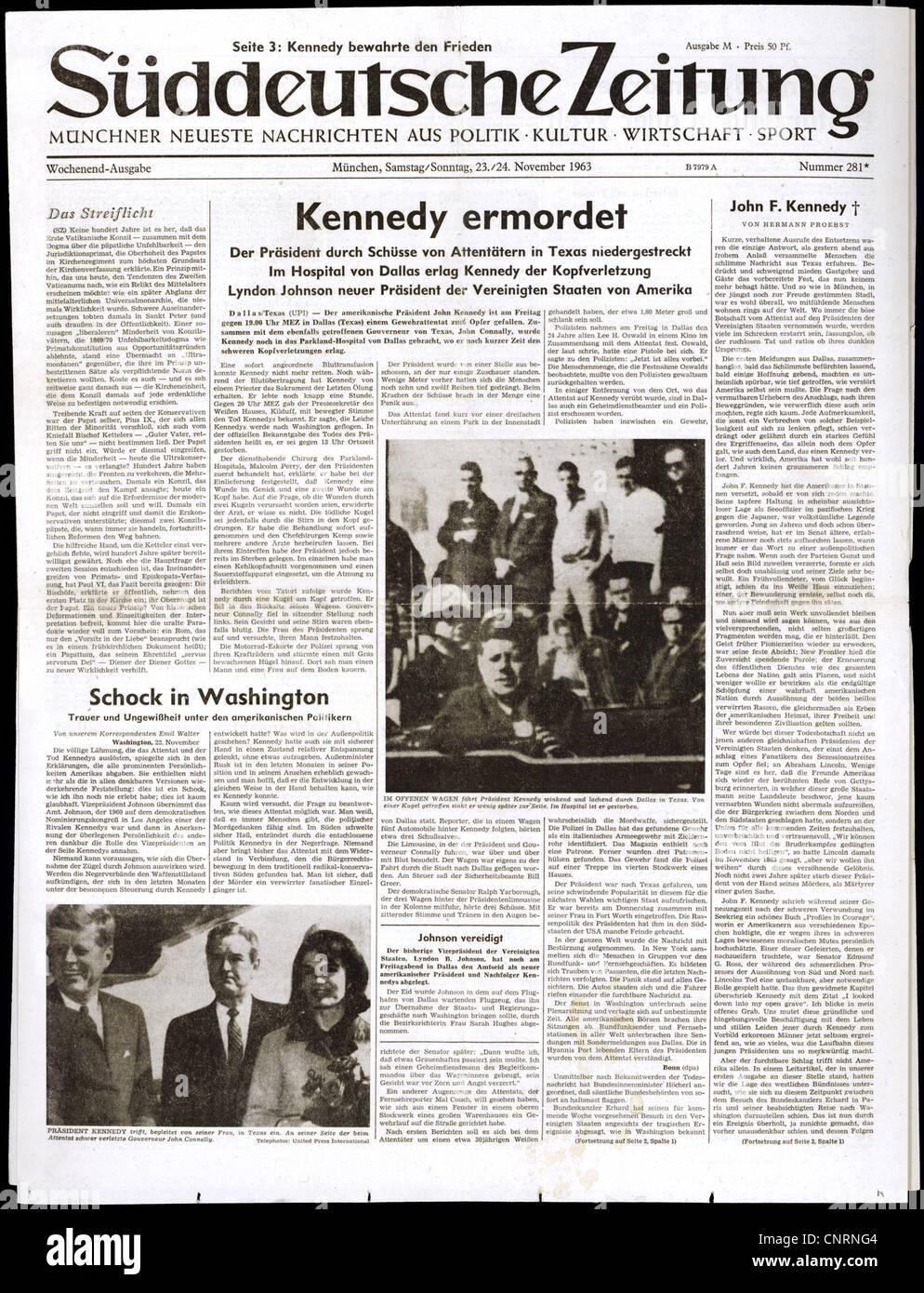 press / media, newspapers / journals, 'Sueddeutsche Zeitung', No. 281, Munich, 23./24.11.1963, front page, - Stock Image
