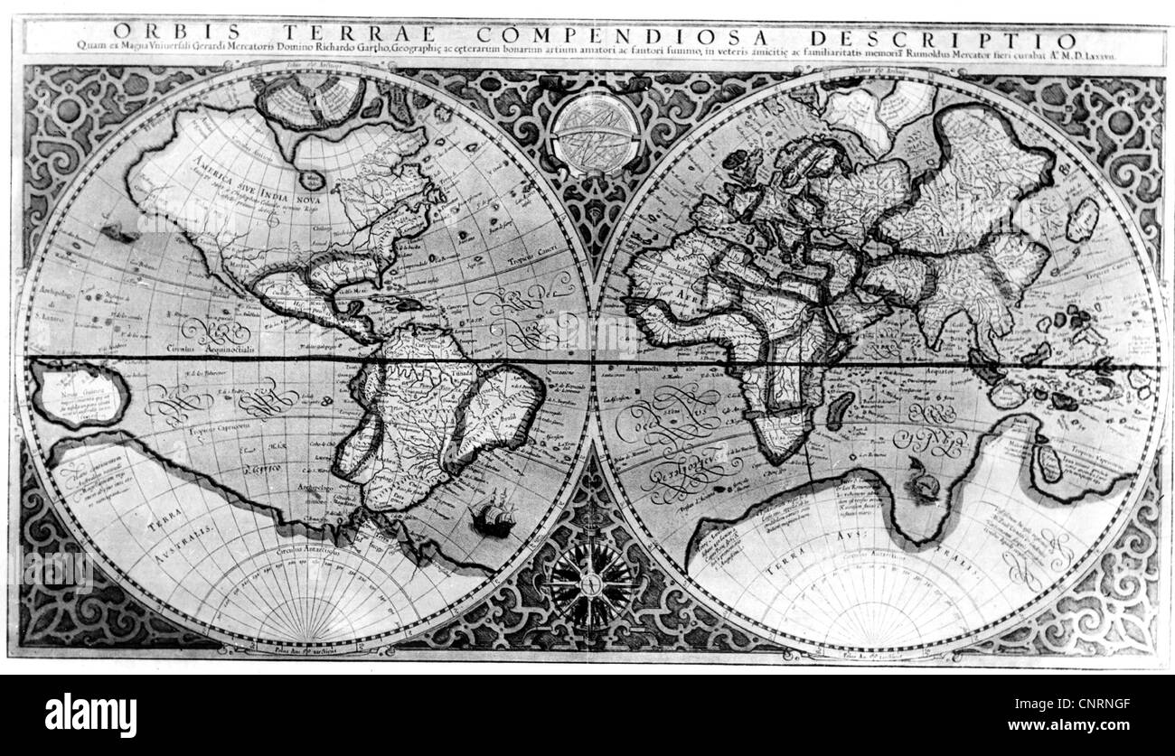 maps, map of the world, by Gerhard Mercator, 1587, Additional-Rights-Clearences-NA - Stock Image