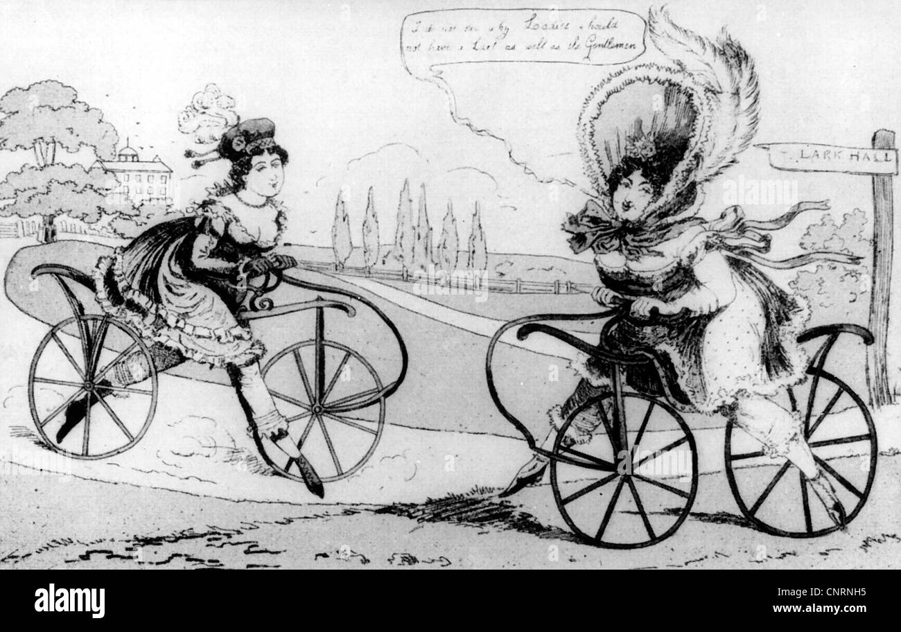 transport / transportation, two-wheeled vehicle, runner, handcar, caricature, England, 1819, Additional-Rights-Clearences - Stock Image