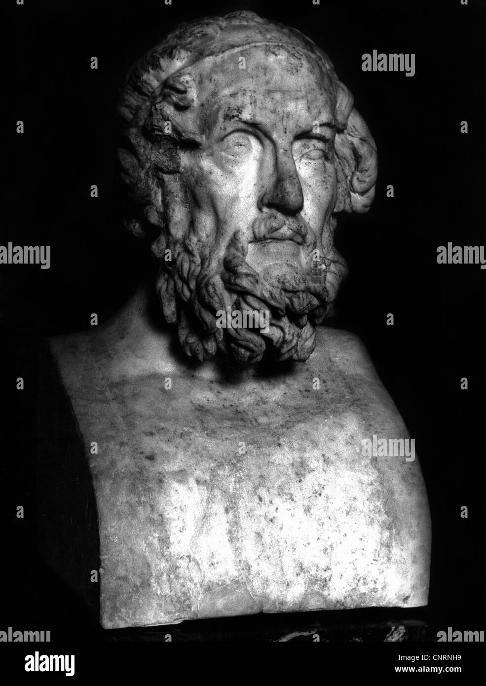 Homer, circa 800 BC, Greek author / writer (poet) and historian, bust, Louvre Paris, sculpture, head, male, man, - Stock Image