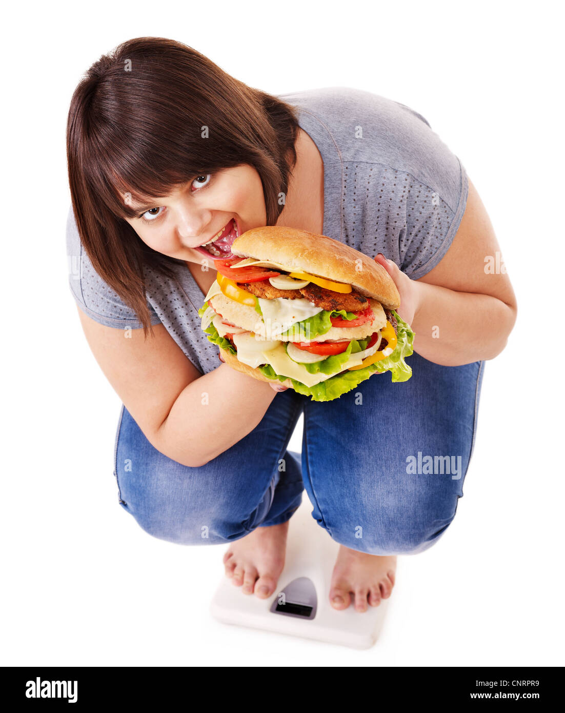 Woman weight loss on scales. Isolated. - Stock Image