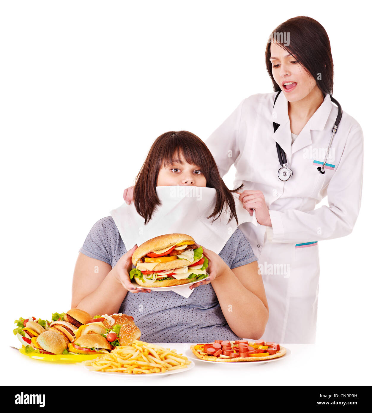 Overweight woman with hamburger and doctor. - Stock Image