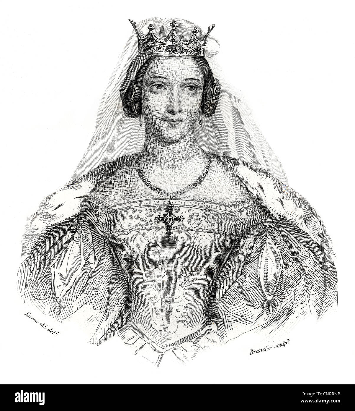 Hedwig I, Jadwiga, St. Hedwig of Poland, 14th Century, Historic steel engraving from the 19th century, - Stock Image
