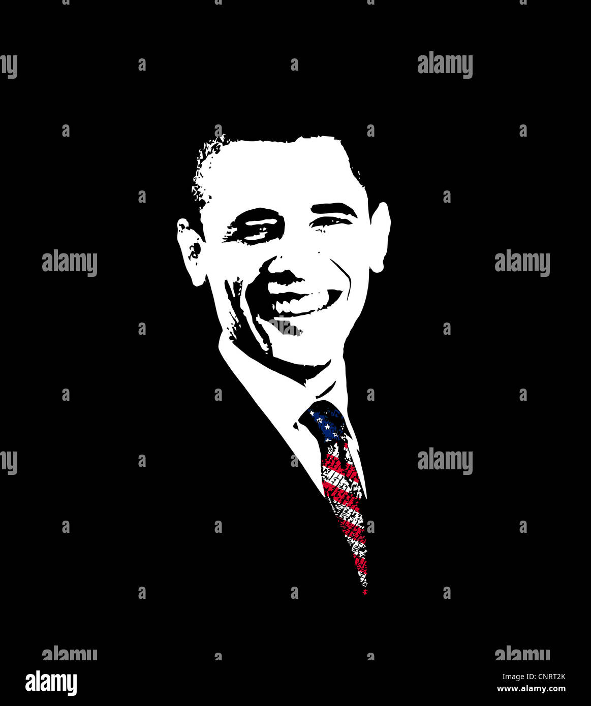 Vector artwork of President Barack Obama wearing a flag tie. - Stock Image