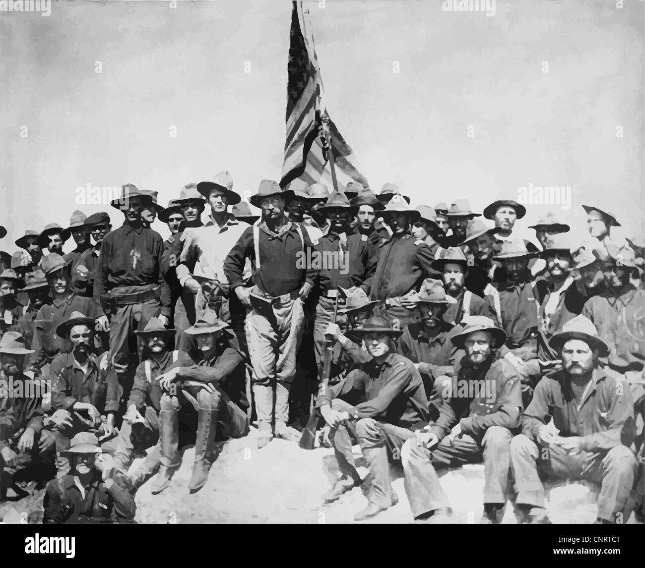 Digitally restored vector artwork of Colonel Theodore Roosevelt and his Rough Riders. - Stock Image