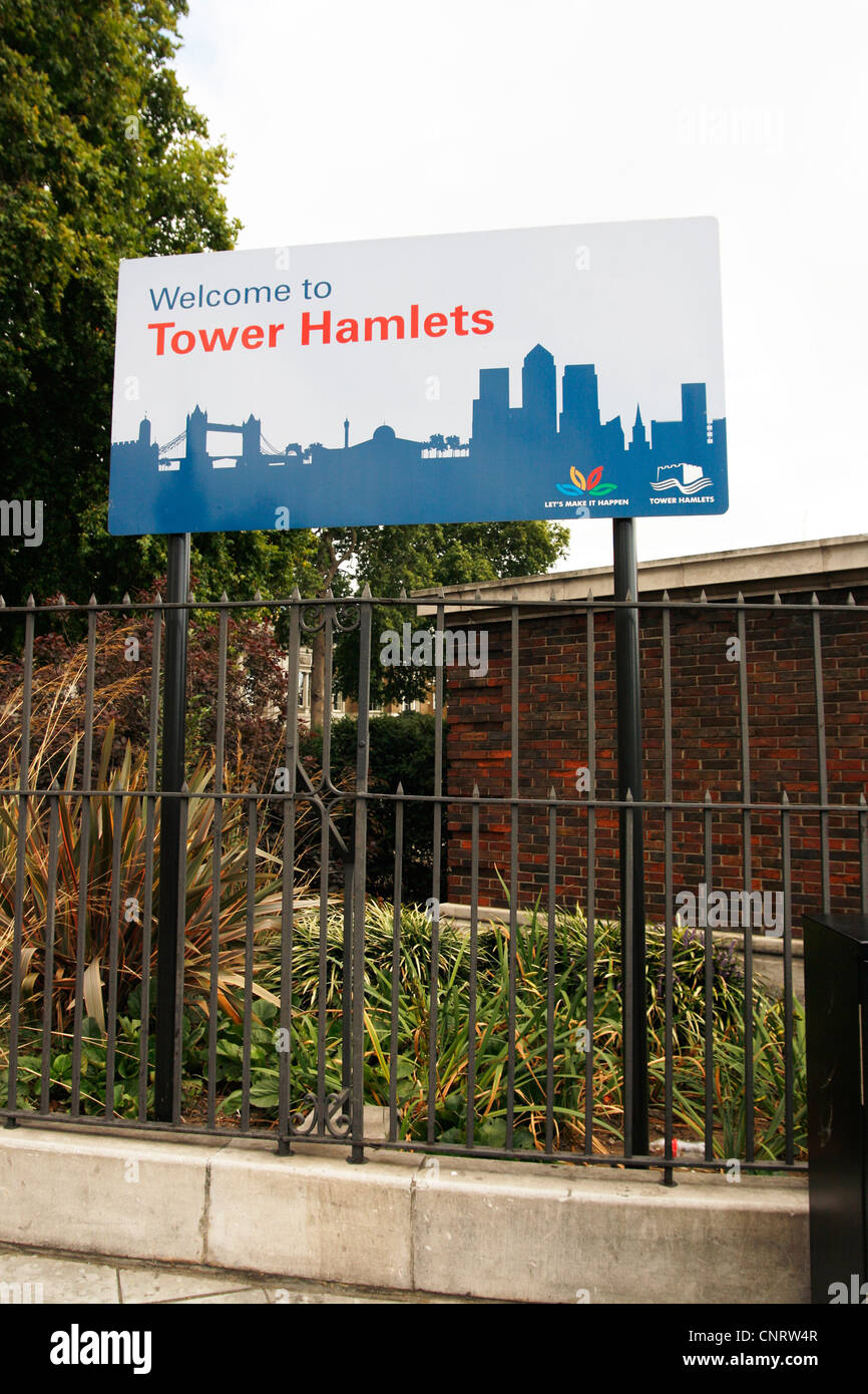 Welcome to Tower Hamlets - Stock Image