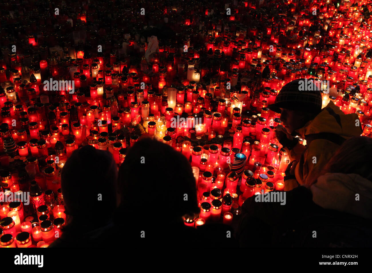 People mourning late Czech president Vaclav Havel in Wenceslas square in December 22, 2011, in Prague, Czech Republic. Stock Photo