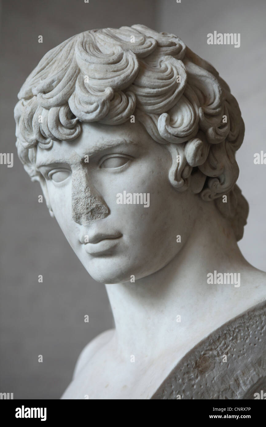 Antinous. Favourite of Roman Emperor Hadrian. Marble bust from about 130-135 AD on display in the Glyptothek Museum - Stock Image