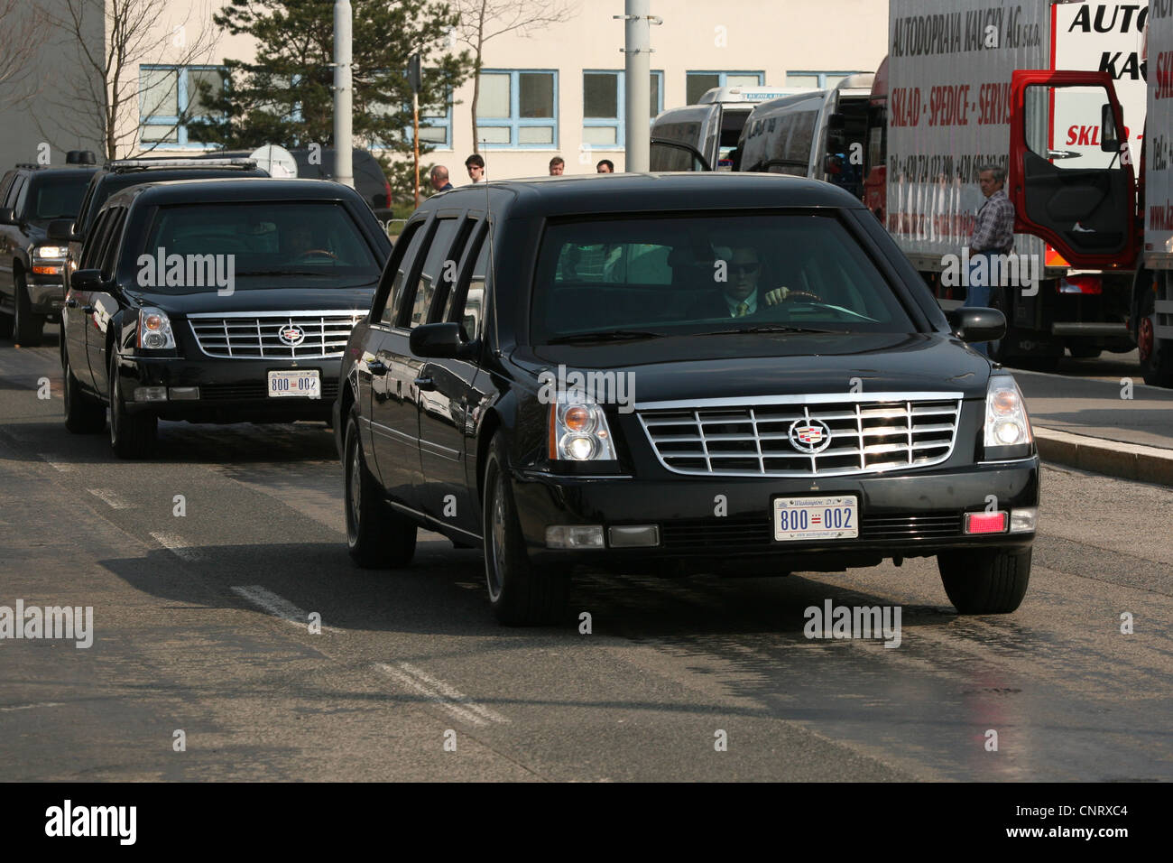 Two Similar Cadillac One Wait For Us President Barack Obama At The