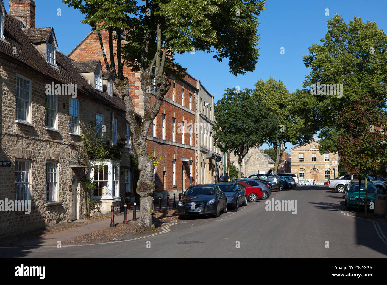 Main street with the town hall at the end, Woodstock, Oxfordshire, UK - Stock Image