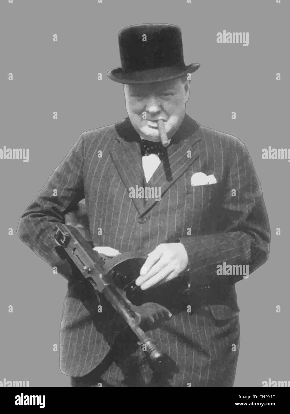 Digitally restored vector photo of Sir Winston Churchill with a Tommy Gun. - Stock Image