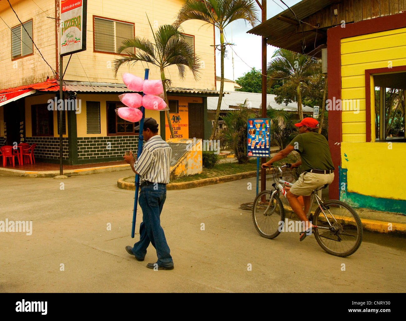 Downtown Tela on a street fronting the Caribbean Sea. - Stock Image