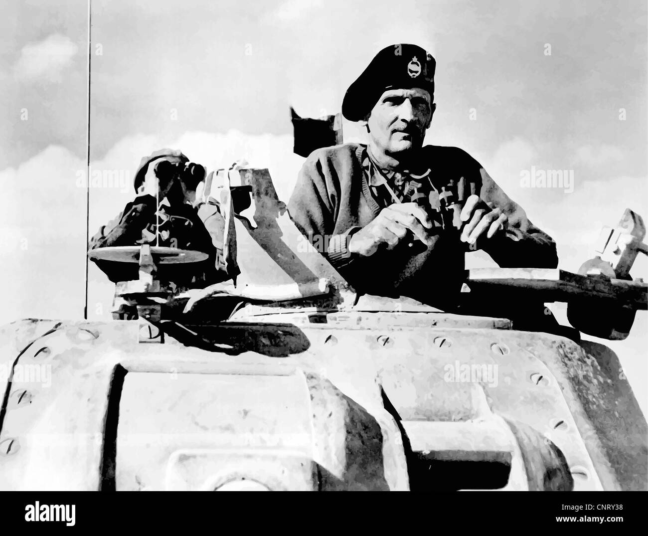 Digitally restored vector photo of Field Marshal Bernard Law Montgomery in a Grant tank in North Africa, November - Stock Image