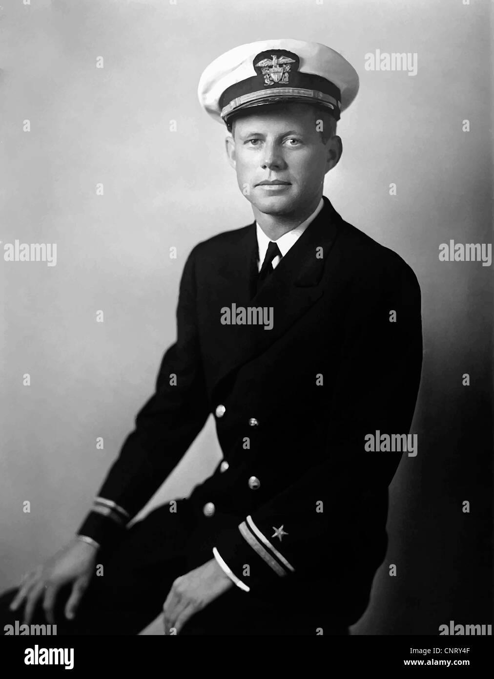 Digitally restored vector portrait of John F. Kennedy dressed in his navy uniform. Circa 1942. - Stock Image