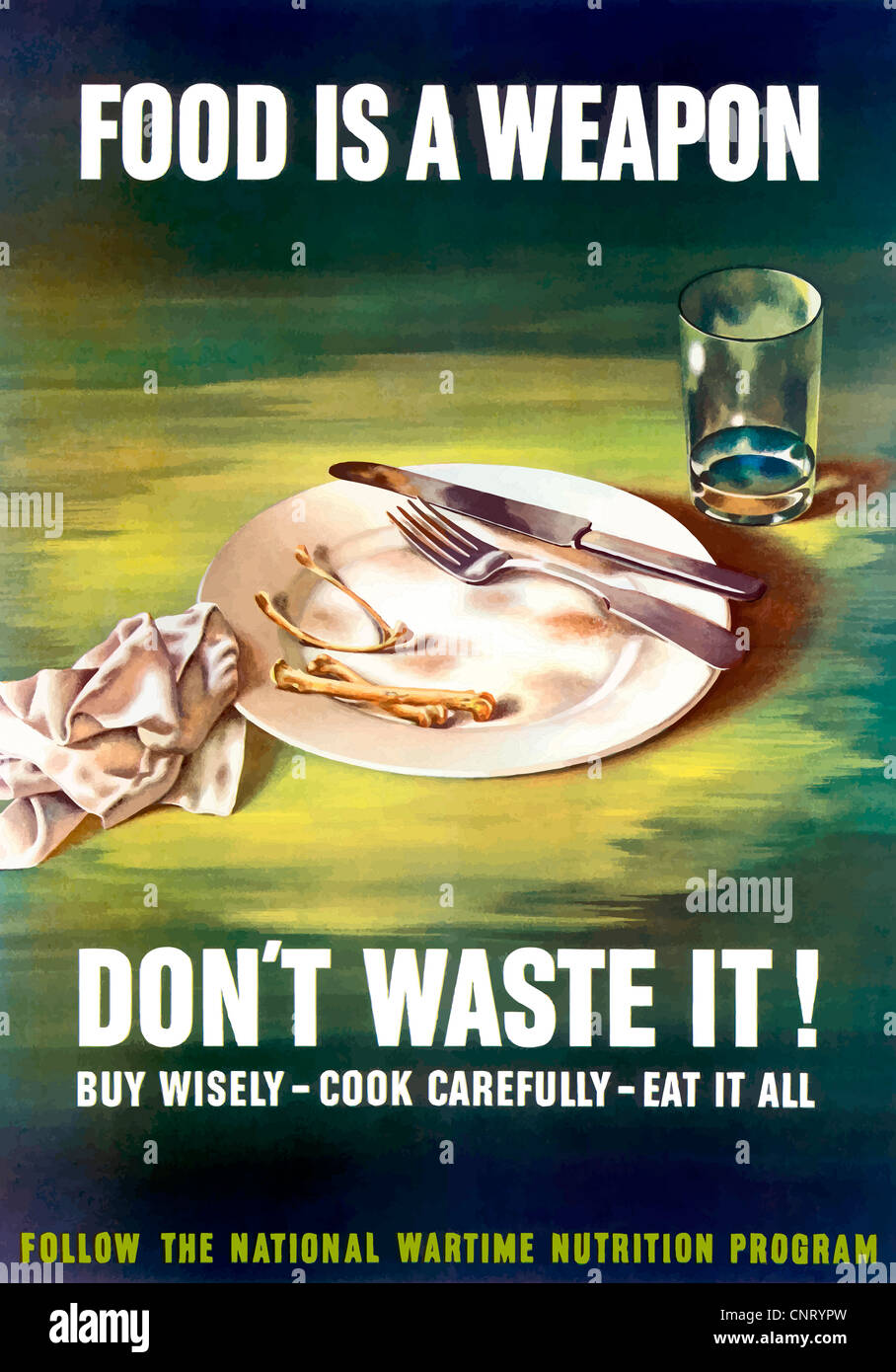 Digitally restored propaganda war poster. Stock Photo