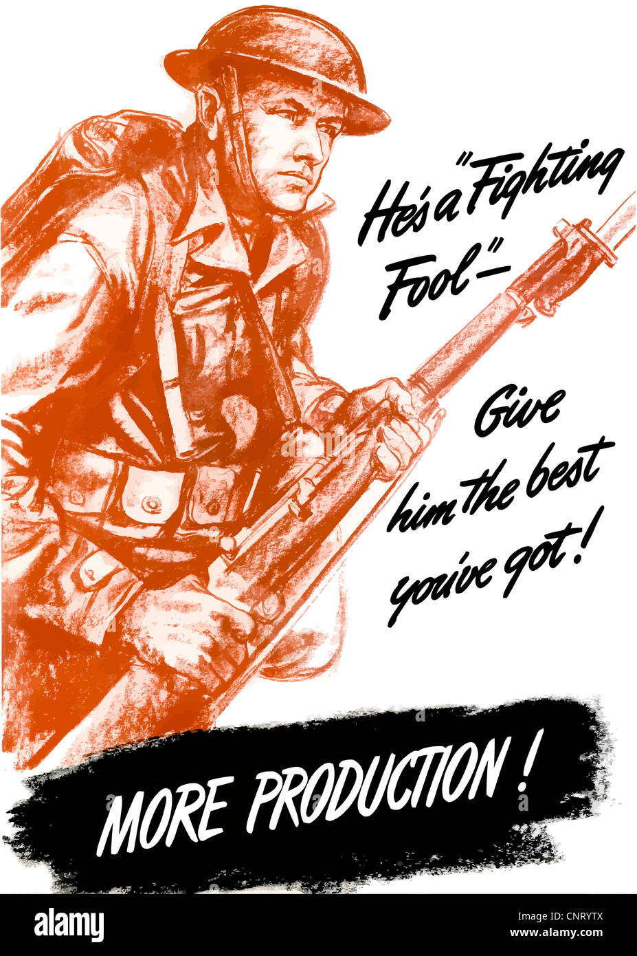 Digitally restored propaganda war poster. - Stock Image