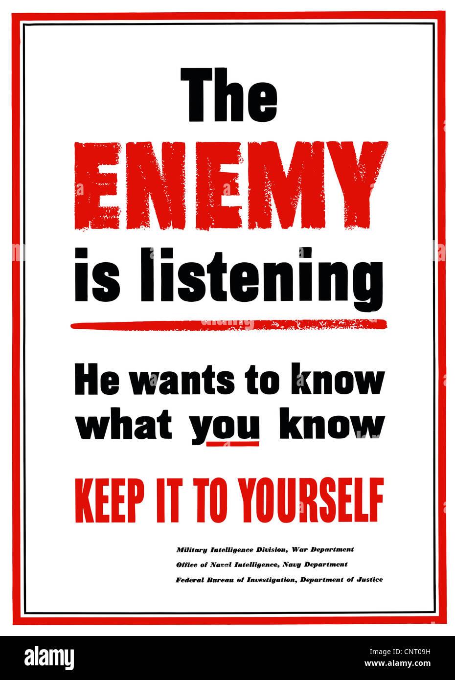 Digitally restored propaganda war poster. Stock Photo