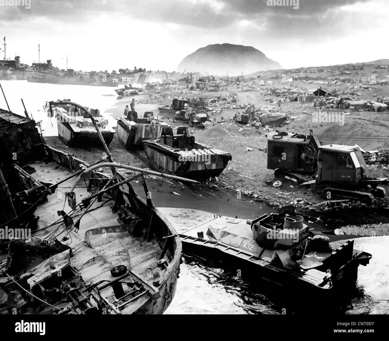 Digitally restored vector photo of the devastated wreckage on the beach during The Battle of Iwo Jima. - Stock Image