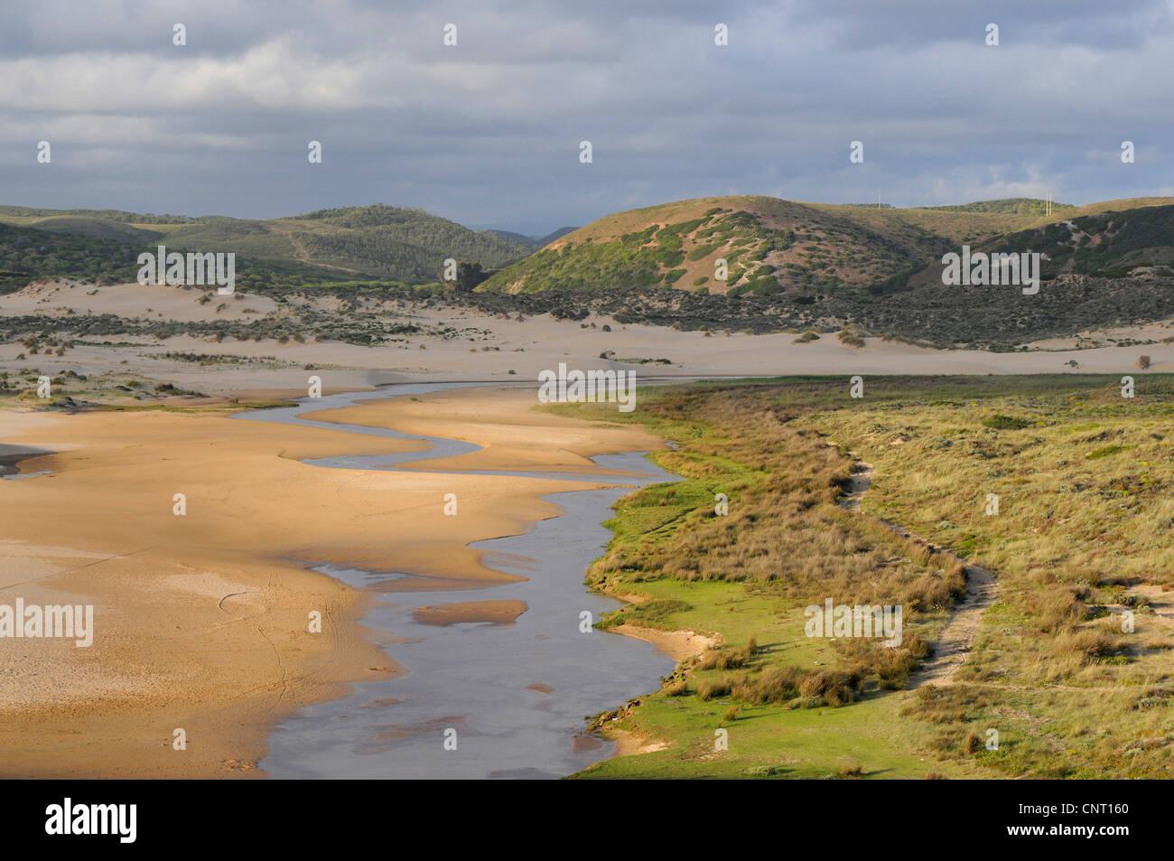 river delta in the Nature Park Carrapateira, Portugal, Algarve - Stock Image